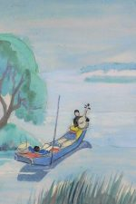 Man in Boat with an instrument, edited. Illustration sketch in gouache by Cyrus Baldridge