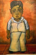 Diego Rivera. Image of a boy with a curl on his Forehead. oil on rice paper. A gift from Margurite Hettle Weiss