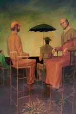 High Chairs, by Philip C. Curtis. oil on panel. A painting of four adult figures (all men?) in high chairs, one with his back to us holds an umbrella.
